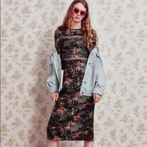 Urban Outfitters Emma Marie Lace Trim Midi Dress S